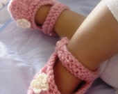 "Knitting Pattern for ""Rosalie"" Hand knitted,  Mary-Janes. Quick & easy...Beginner plus level. PDF format. FREE SHIPPING"