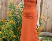 Organic Cotton Cross Over Sleeveless Dress - boho hippie dress, orange long fitted dress, custom color dress, eco summer dress