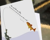 Father's Day card, November Birthday - Greeting card -  Men and Fish Are Alike - a card for your favorite fisherman - illustration