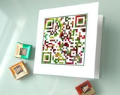 "Holiday Card, Christmas Card - ""Merry Christmas"" or Personalized Message for  Additional 3 Dollars - OOAK QR Code Art - greeting cards"