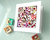 Happy Valentine's Day or Personalized Message - Valentine Card, Love Card, Wedding Invitation Card - QR Code Art