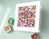 I love you with all my heart or personalized message - anniversary card, Love Card - QR code iphone art - Pixel Art