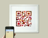 Love Signage - Love print or personalized message - birthday, wedding and anniversary gift - QR code square art, April