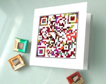 Happy Valentine's Day or Personalized Message - Boyfriend gift, Valentine Card, Love Card, Wedding Invitation Card - QR Code Art