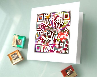 I love you with all my heart or personalized message - Valentine's day card, Love Card - QR code iphone art - Pixel Art
