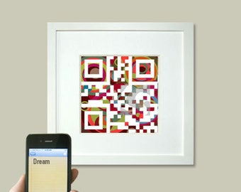 Personalized Children - Dream or personalized Message - QR code  nursery wall decor art print - baby shower