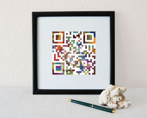 Happy Father's Day or personalized father's gifts - QR code square wall art print - June birthday gift