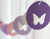 6 Foot - Spring Butterfly Garland in Purple and Pink - available in your choice of colors  -  Party Banner Garland perfect for Baby Showers