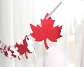 "6 Foot - 2"" Maple Leaf Red and White Garland  -  Party Banner Garland perfect for Parties, Bridal or Baby Showers"