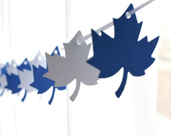 "6 Foot - 2"" Maple Leaf Blue and White Garland - Party Banner Garland perfect for Parties, Baby Showers"