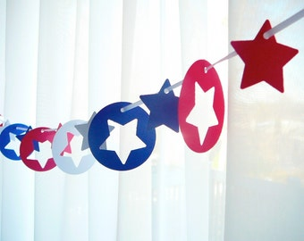 """6 Foot - 2"""" Star Spangled Red White and Blue Banner Garland -  Party Banner Garland perfect for Parties, Bridal or Baby Showers"""