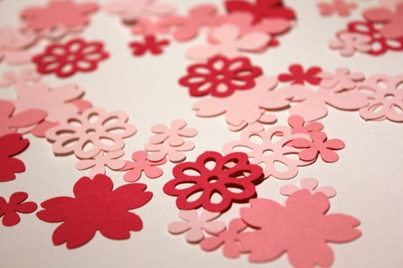 Deluxe Pink Blossoms and Blooms Garden Party Hand Punched Confetti - Over 200 pieces Ready to Ship