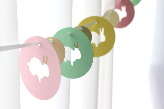 "6 Foot - 2"" Easter Bunny Rabbits Garland in Pink, Lemon Yellow, Mint Green and Cream"