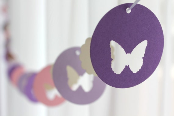 "6 Foot - 2"" Spring Butterfly Garland in Purple and Pink  -  Party Banner Garland perfect for Baby Showers"