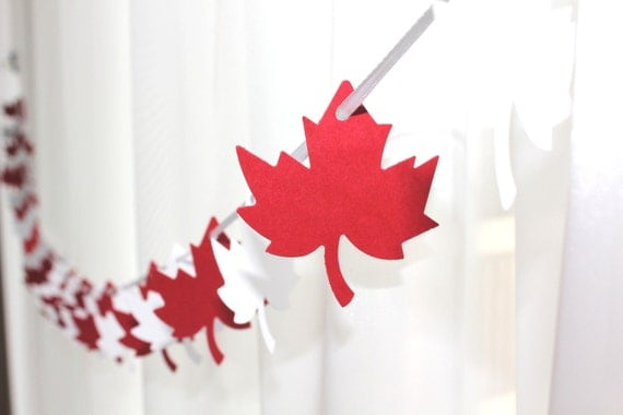 Canada Maple Leaf Red & White Garland by GFetti