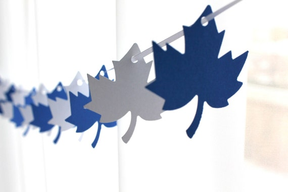 """6 Foot - 2"""" Maple Leaf Blue and White Garland - Party Banner Garland perfect for Parties, Baby Showers"""
