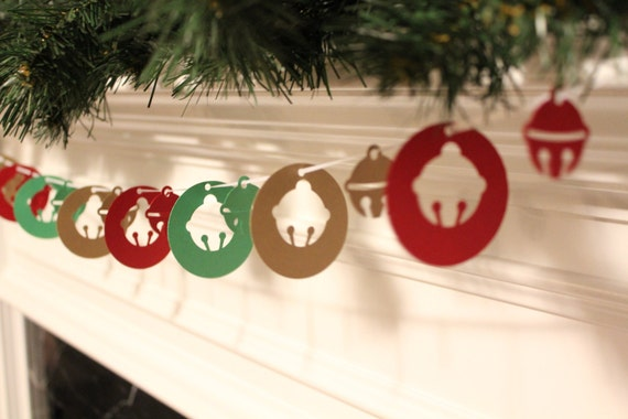 6 Foot - Jingle Bells Shimmery Gold, Green and Claret Red Holiday Garland