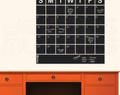 Chalkboard SQUARED CALENDAR Chalk board wall decals office decor surface graphics by Decals Murals (22x22)