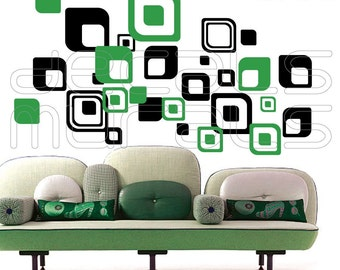 Wall Decals SHAPES ROUND SQUARES Vinyl surface graphics interior decor by Decals Murals