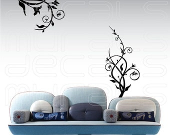 Flowers on Branch Shapes Vinyl Wall Decals Stickers Decor by DECALS MURALS