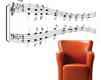 Wall decal MUSIC NOTES Vinyl art stickers Sheet music decor by Decals Murals (24x43)