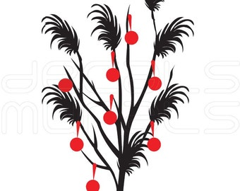 Wall Decal Tree BRANCH WITH ORNAMENTS holiday wall decor by Decals Murals Large