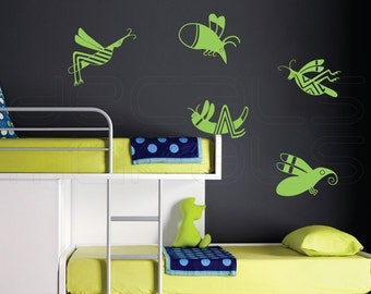 Wall decals FLYING INSECTS removable vinyl stickers by Decals Murals
