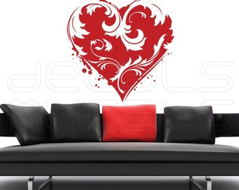 Wall Decals FLORAL HEART Vinyl stickers decor - Removable art by Decals Murals (42x38)