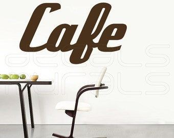 Wall decal CAFE Vinyl lettering art sticker Kitchen decor by Decals Murals (16x28)