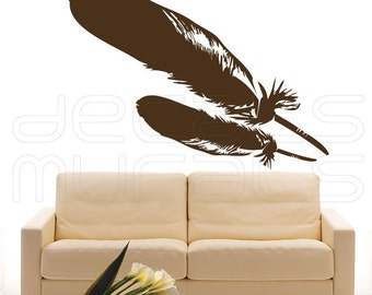Wall decal FEATHERS Vinyl art stickers modern home decor by Decals Murals
