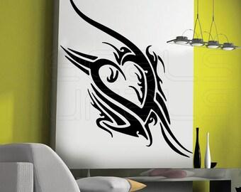 Wall decals TRIBAL HEART Vinyl tattoo - Modern interior decor by Decals Murals