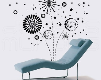 Wall decals GEOMETRIC FIREWORKS Vinyl art graphics for modern interior decor by Decals Murals (Medium)