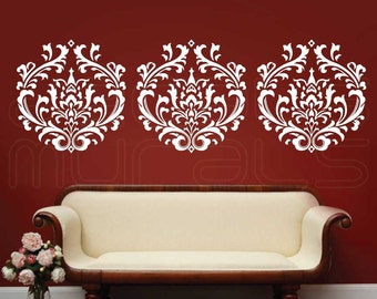 Wall Decal DAMASK decals wallpaper stickers by Decals Murals (22x20) Set of 3