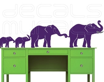 Wall decal  ELEPHANT FAMILY Vinyl art surface graphics interior decor by Decals Murals (4 Large)