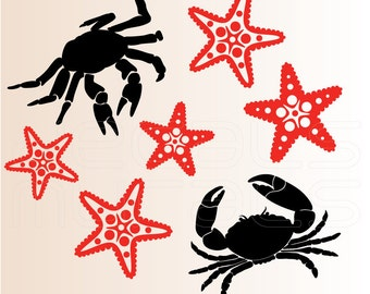 Wall decals STAR FISH and CRABS removable vinyl stickers by Decals Murals