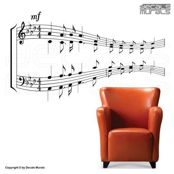 Wall decal MUSIC NOTES Vinyl art stickers Sheet music decor by Decals Murals (24x43)