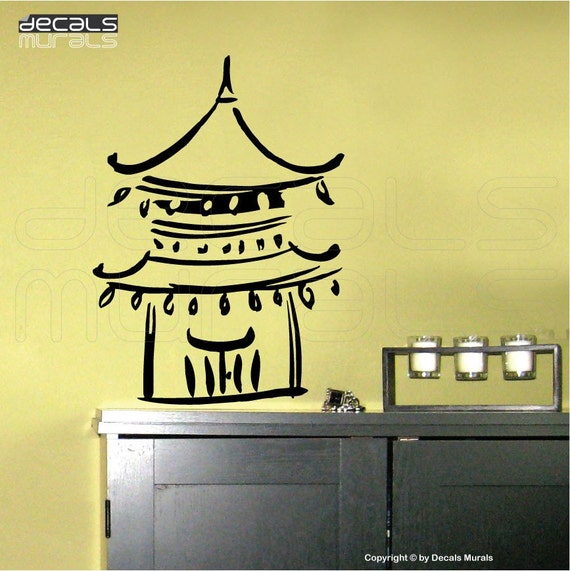 Wall Decal Abstract CHINESE TEMPLE Vinyl art wall stickers interior decor by Decals Murals (12x16)