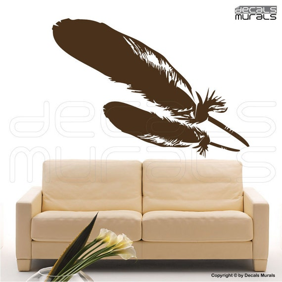 Wall Decor Stickers Modern : Wall decal feathers vinyl art stickers modern home decor by