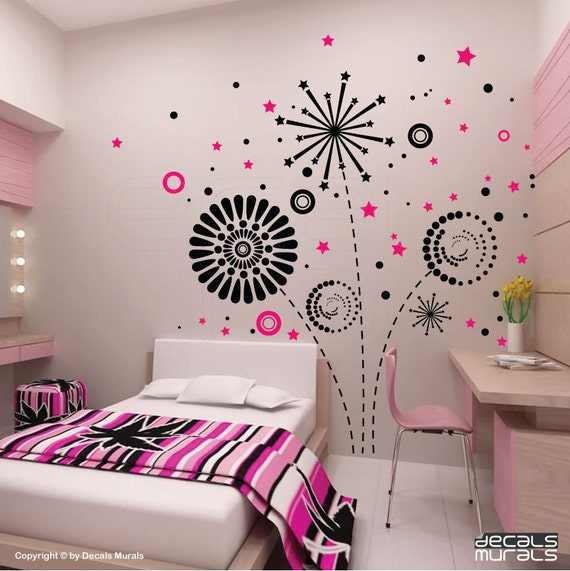 GEOMETRIC FIREWORKS Wall decals interior graphics for modern decor by Decals Murals (Large)