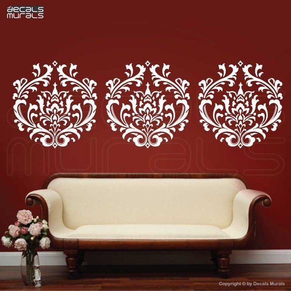 wall decal damask decals wallpaper stickers by by decalsmurals damask pattern 2 vinyl wall decal wall by wordybirdstudios