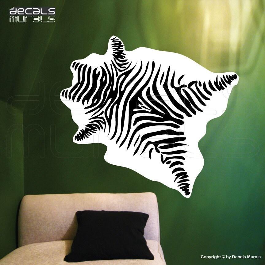 Wall decal zebra skin mural print vinyl art sticker decor by for Custom vinyl mural prints