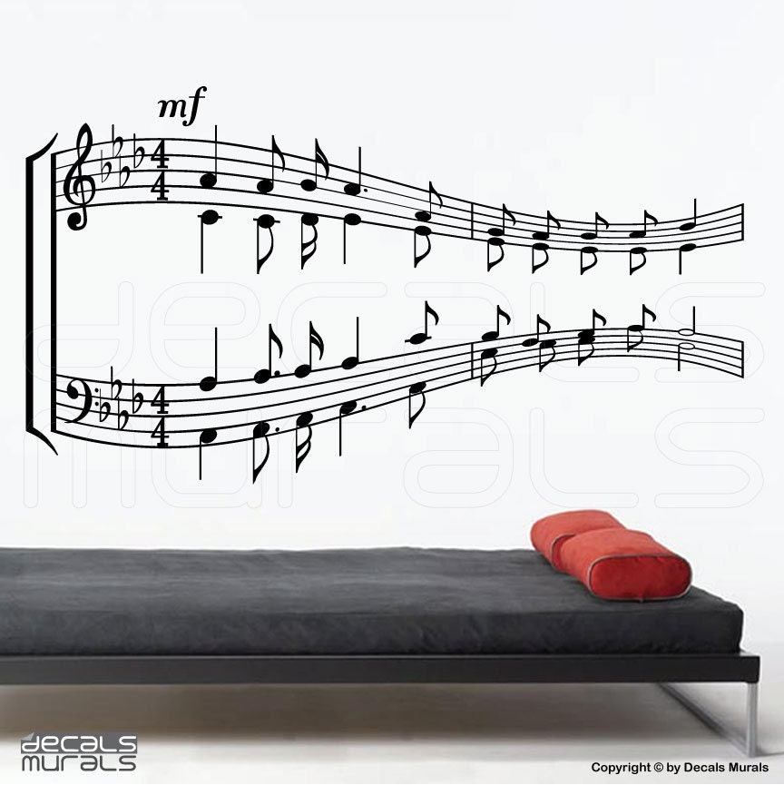 Piano Music Wall Decor : Music notes sheet wall decals vinyl art by decalsmurals