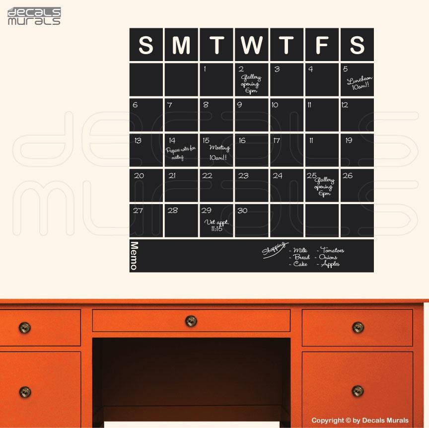 Chalkboard Calendar Decal : Chalkboard squared calendar chalk board wall decals office