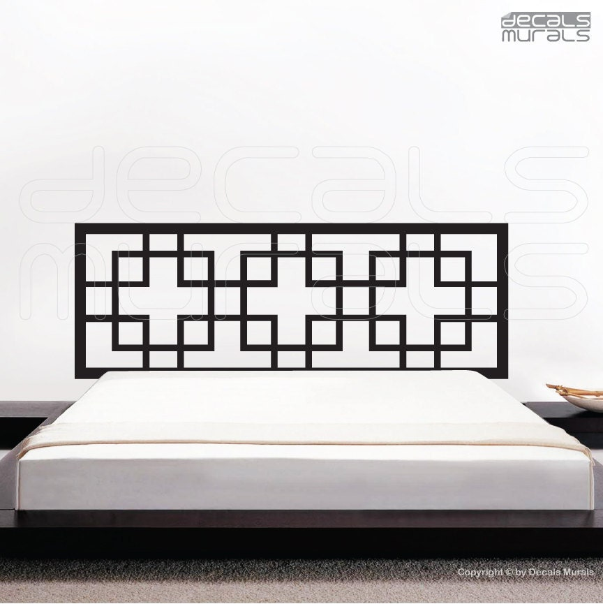 Decal headboard overlapping squares wall art decor by for Mural headboard