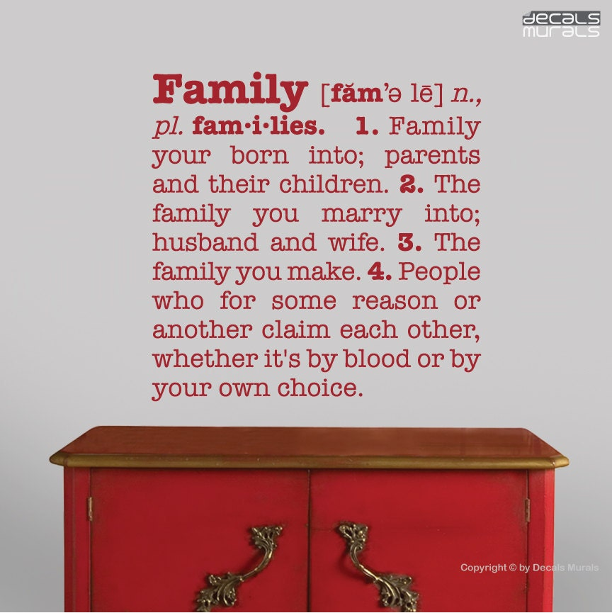 Meaning Of Family Quotes: Wall Decals FAMILY DEFINITION Quote Vinyl Stickers By