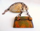 Picasso Stone Necklace / Natural Stone Pendant / Semi Precious Jasper Stone / Multicolor Stone Jewelry