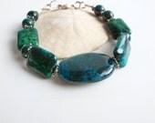 Stone Bracelet / Green Blue Turquoise Chrysocolla Stone / Azurite Stone Jewelry / Beaded Stone Bracelet