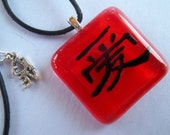 Chinese love symbol glass pendant
