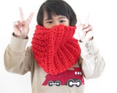 Crocheted Cowl Scarf Red