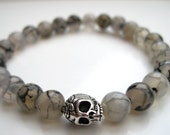 Mens White Dragon Vein & Skull Bracelet